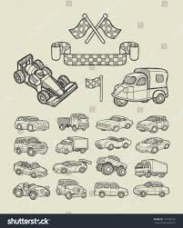 car icons sketch cars racing flag stock vector 191102144