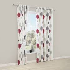 Floral Lined Curtains Dario Beige Grey White Floral Printed Eyelet Lined Curtains