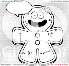 cartoon clipart of a happy talking gingerbread zombie mascot