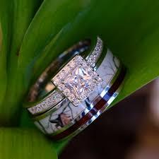 diamond wood rings images Custom engraved 2 pc natural white camo ring koa wood inlay jpg