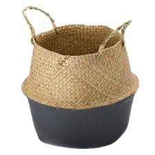 seagrass belly basket dipped black grey storage holder plant pot