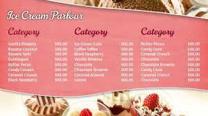 dessert menu template template idea