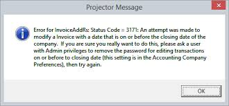 status code 3171 an attempt was made to modify on or before the