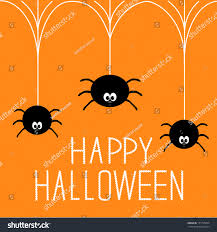 three hanging spiders happy halloween card stock vector 151795439