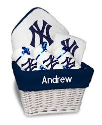 new york gift baskets personalized new york yankees medium gift basket mlb baby gift