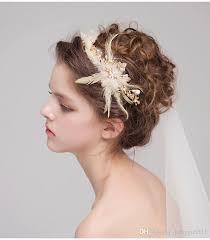 hair feather 2017 fashion bridal headdress gold hair crowns feather pearls hair