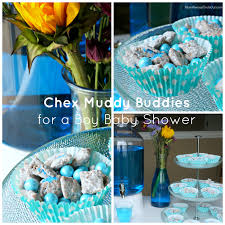 blue baby shower chex muddy buddies recipe for a baby shower pink blue
