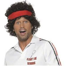 Mens Funny Halloween Costumes 80s Tennis Player Wig John Mcenroe Mens Funny Halloween