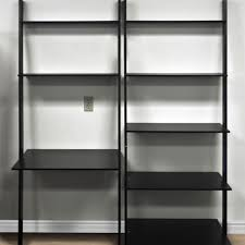 Short Ladder Bookcase by Black Brushed Steel 8 Tier Leaning Shelf Bookcase With Computer