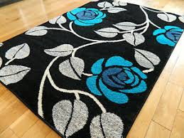 Black Modern Rugs Large Black Teal Grey Silver Blue Mat Modern Rug 160 X 230 Cm