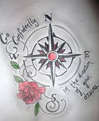 watercolor compass tattoo in 2017 real photo pictures images