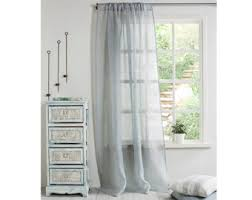 Grey And Blue Curtains Gray Linen Curtains Etsy