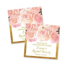 bridal shower favor tags blush pink metallic gold bridal shower favor tag digibuddha