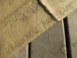 burlap hooked rug canvas to hook w yarn or wool floral oval center