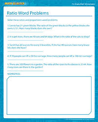 ratio word problems 7th grade math worksheets math blaster