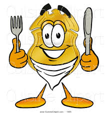 cuisine clipart of a smiling badge mascot character