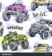 monster trucks races cartoon cars watercolor seamless pattern cartoon monster trucks stock