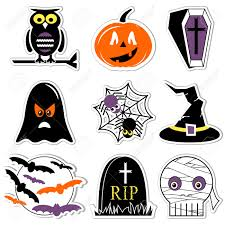 Halloween Owl Clip Art by Halloween Icons Set In Color Labels Style Including Owl Pumpkin