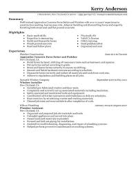 Plumber Resume Job Application Form Also Concrete Finisher Resume On Plumbers