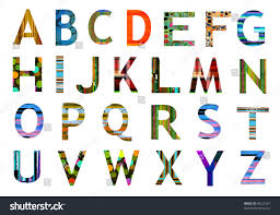 original alphabet letters collection various colorful stock