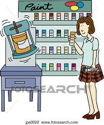 clip art of a woman looking at paint color samples at a store and