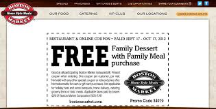 free family dessert with your family meal at boston market coupon