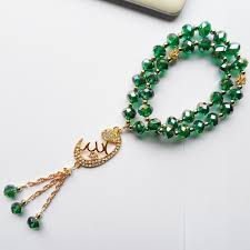 jewelry beads bracelet images Malachite green crystal muslim pendant accessories tasbih prayer jpg