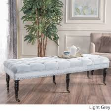 christopher knight home hastings tufted fabric ottoman bench hastings tufted velvet fabric ottoman bench with casters by