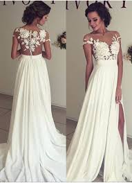 garden wedding dresses 2017 summer chiffon wedding dresses lace top sleeves side