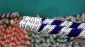 radhe enterprise7star dandiya stick blue velvet and golden lace