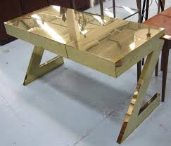 Z Shaped Desk Zeta Desk From Birgit Israel Metal Clad In A Brass Finish Three