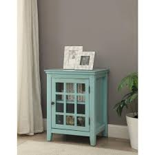 linon home decor largo antique turquoise storage end table