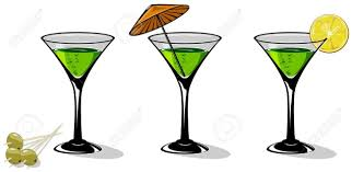 martini olive art green cocktail in a glass for martini on white background