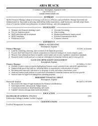finance manager resume template extraordinary design finance