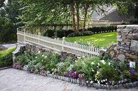 Decorative Outdoor Fencing Steep Sloped Lot Driveway Landscape Traditional With Banister