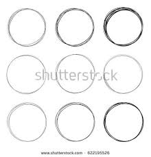 set 9 hand drawn circles using stock illustration 622195526