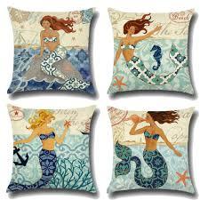 1pcs mermaid sea shell pattern cotton linen throw pillow cushion