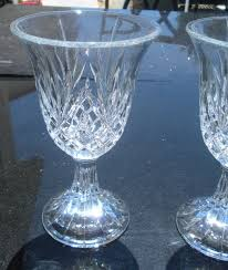 set of 2 thick heavy cut crystal chalice goblet wine glass