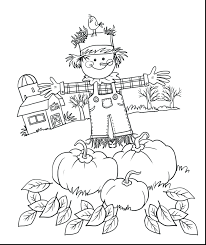 scarecrow coloring pages printable fall for preschool scarecrow