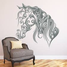 compare prices on stickers art floral wall stickers online floral patterned horse head art wall decals home room special modern decorative vinyl wall stickers animals