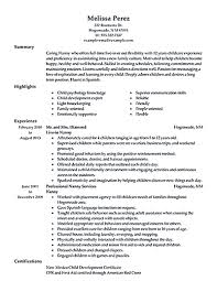 Housekeeper Resume Samples Free Nanny On A Resume Free Resume Example And Writing Download