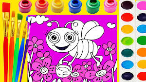 bee coloring page for kids to learn to color and paint youtube