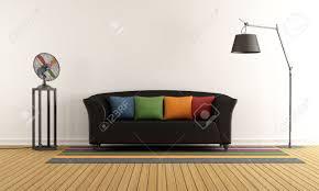 salon canapé noir salon contemporain avec canapé noir coussins colorés et ventilateur