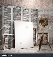 vintage room divider mock posters on room divider screen stock illustration 233632084