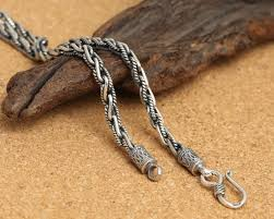 braided rope necklace images 925 sterling silver braided rope necklace silver statement etsy jpg