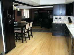 Laminate Flooring With Oak Cabinets Brindisilight And Dark Wood Flooring Together Light Cabinets