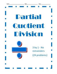 partial quotient division 24 problems 3 by 1 with no remainders
