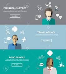 one page brochure template technical support banners set assistant mans and with icons