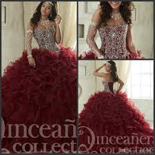 maroon quinceanera dresses 2018 sweep tiered cascading ruffles pageant gown luxury