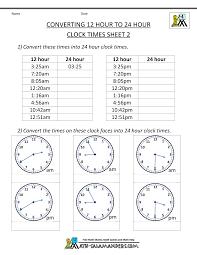 24 hour clock conversion worksheets